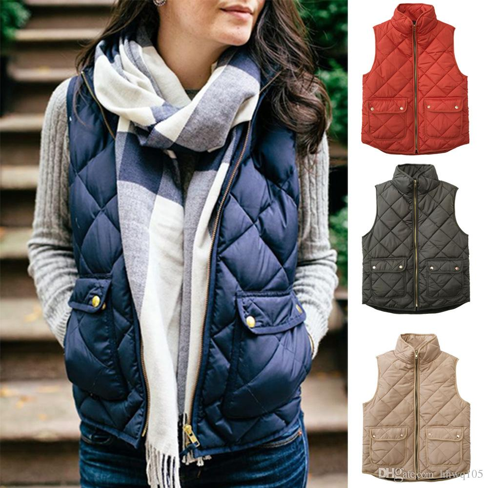 467846686 Women s Slim Quilted Puffer Vest Coat Stand Collar Zip-up Padded Vest  Waistcoat Lightweight Fall Coat With Pockets CJH1109