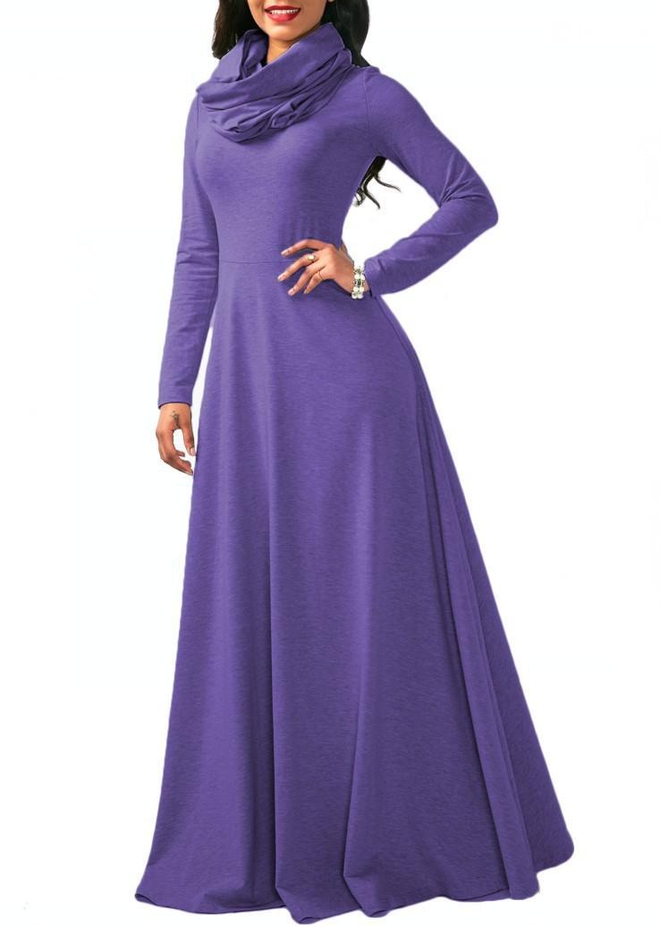 2018 New Elegant Long Sleeve Chiffon Maxi Dress Vintage Solid Pocket ... 2144aa2698ed