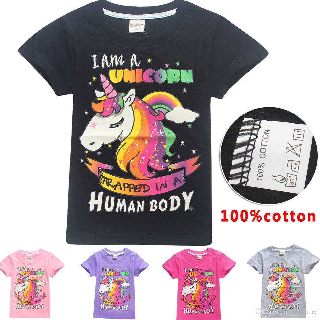 Acquista Cute Baby Girls T Shirt Estate Sono Un Unicorno Corpo Umano  Stampato Ragazza Manica Corta In Cotone Top Di Buona Qualità Bambini  Ragazza Tees ... 99f9932cad8