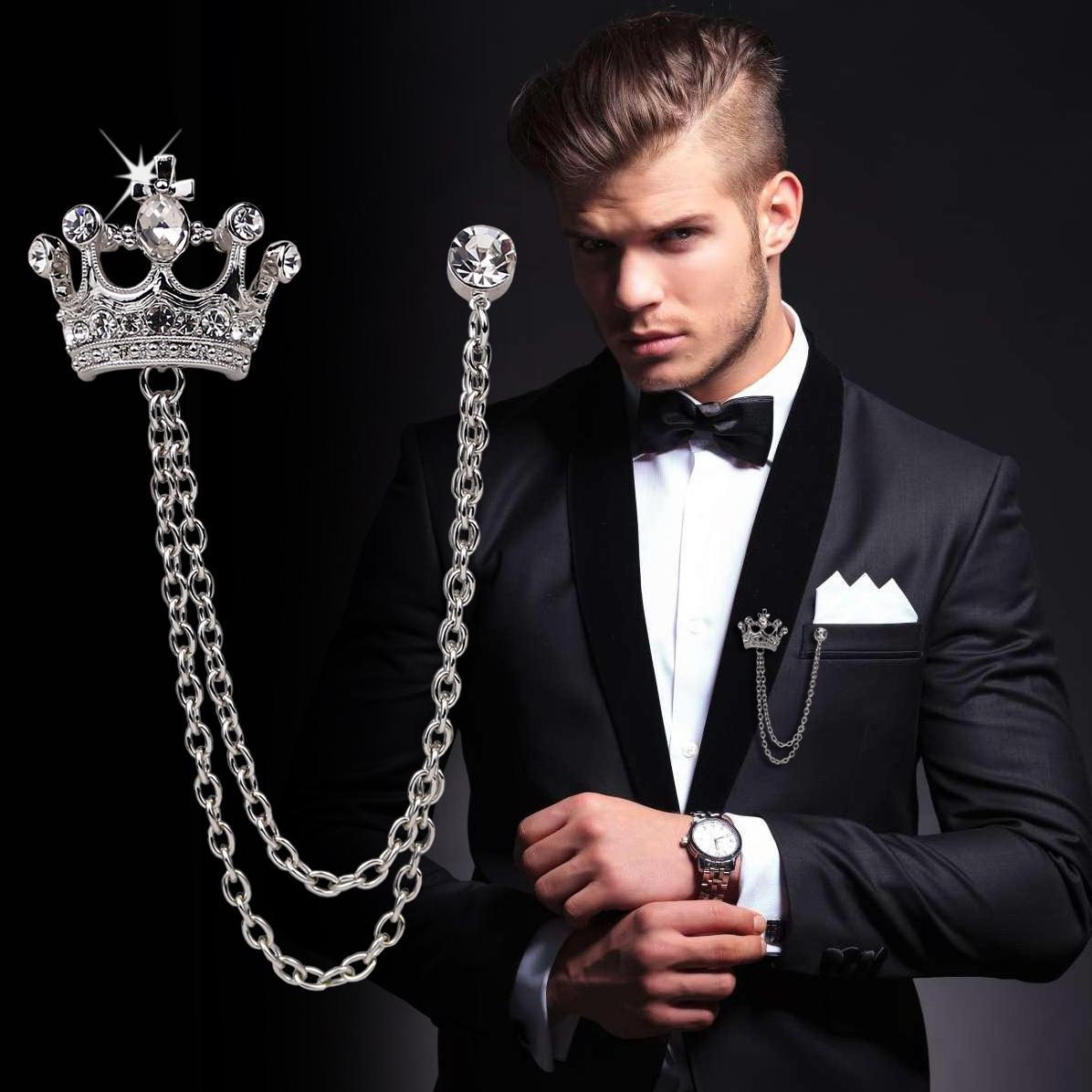 Diamante Broche Crown Terno high-end dos homens de lapela o emblema Vintage Boutonniere Checa cristal broche de jóias Wedding Party Man Favor