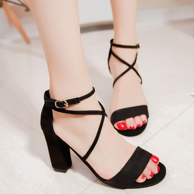 Women Sandals Summer Square Heels Office Sandals Buckle Strap Peep Toe Heels Shoes Ladies Elegant Party Zapatos De Mujer