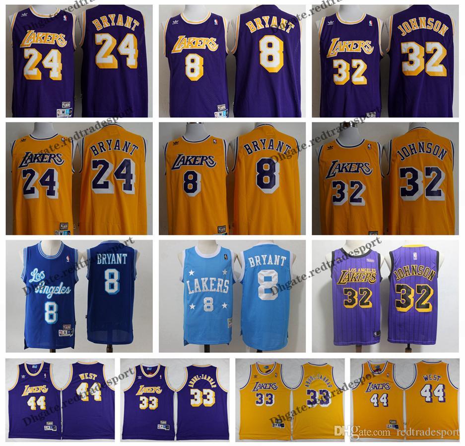 best website 91ddc d09e0 Vintage Mens Los Angeles Kobe Bryant Magics Johnson LA Basketball Jersey  Jerry West Lakering Kareem Abdul-Jabbar Stitched Shirts S-XXL