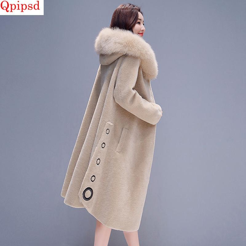 5356d03aeae Winter Loose Womens Jackets 2019 New Fur Sheep Shearing Coat Womens Big Fur  Collar Hooded Thicken Warm Jacket Female Wool Coats Faux Fur Cheap Faux Fur  ...