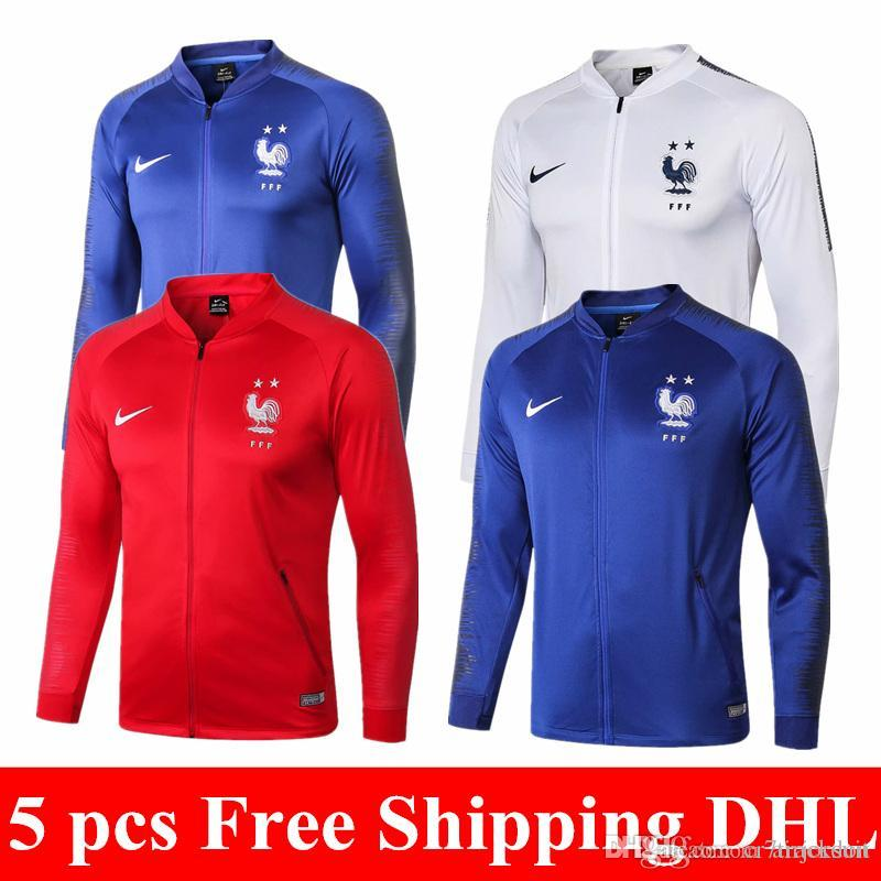 38f8b8597 Top Thai Quality 2018 World Cup Champion 2 Stars French Jacket GRIEZMANN  Soccer Jersey POGBA RED Blue White Full Zipper MBAPPE Tracksuit UK 2019  From ...