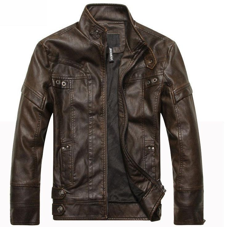 good quality New Arrive Brand Motorcycle Leather Jacket Men, Men's Leather Jacket Jaqueta De Couro Masculina,mens Leather Jackets Coats