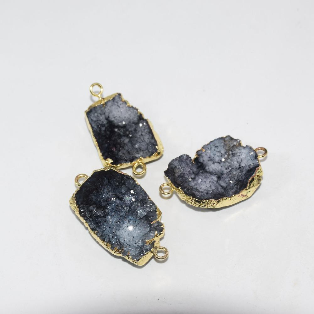 Free Shipping Fashion Jewelry Black natural stone druzy connector men raw crystal quartz druzy stone charm connector women 2019