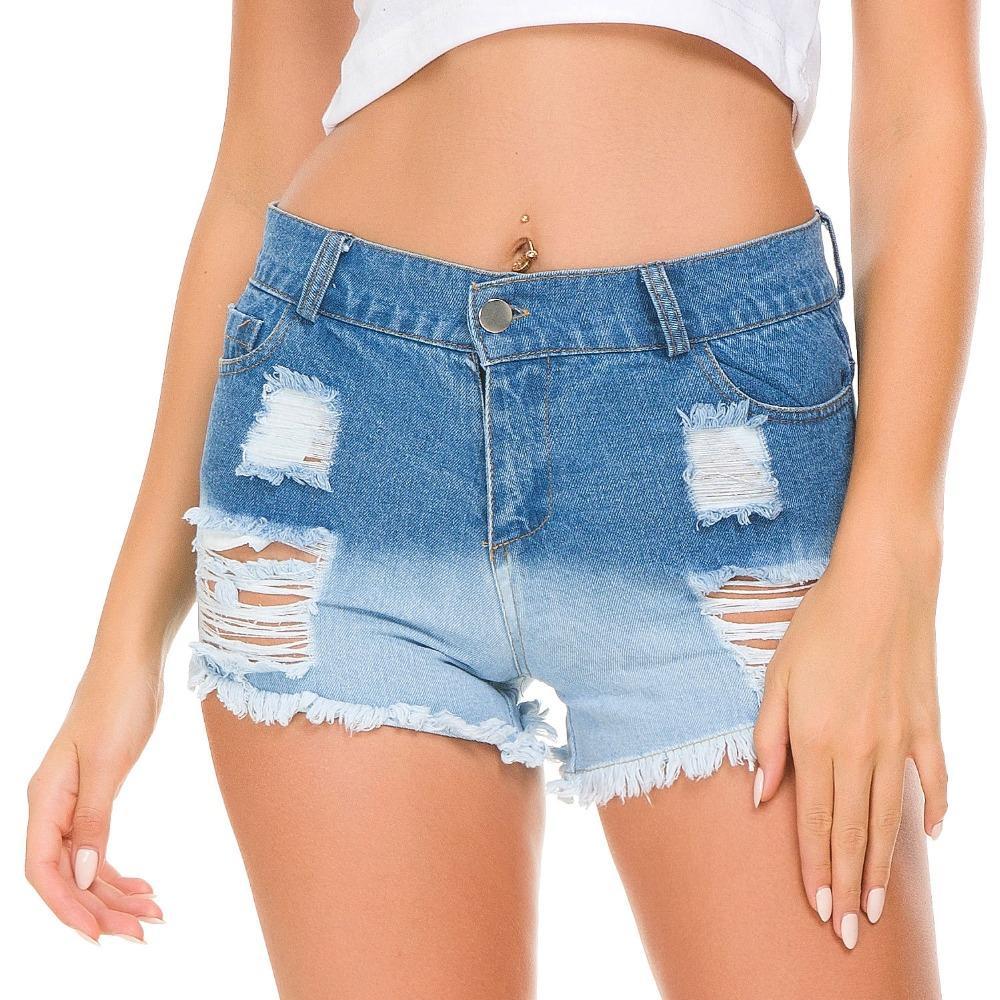 93c6072473 Acheter Blue Denim Shorts Taille Haute Été Casual Ladies Hot Shorts Solide  Sertissage Femme Jeans Court Pour Les Femmes De $29.61 Du Jerkin |  DHgate.Com