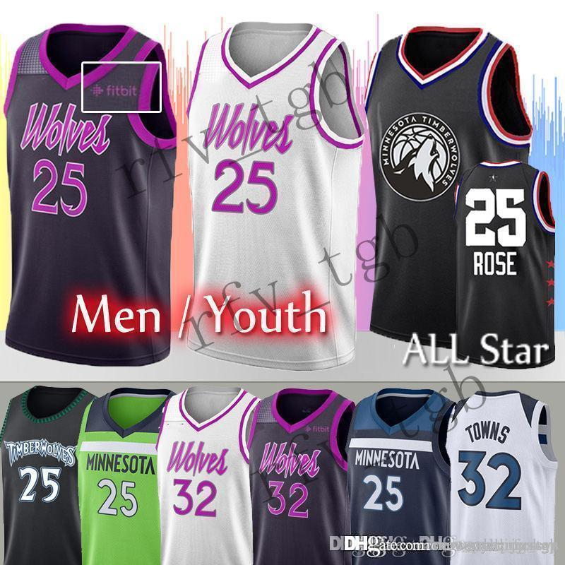 sale retailer 44e50 e0a9f Rose Timberwolves jerseys Rose 25 Derrick Men Karl-Anthony 32 Towns youth  Embroidery Logos Basketball Stitched Jerseys
