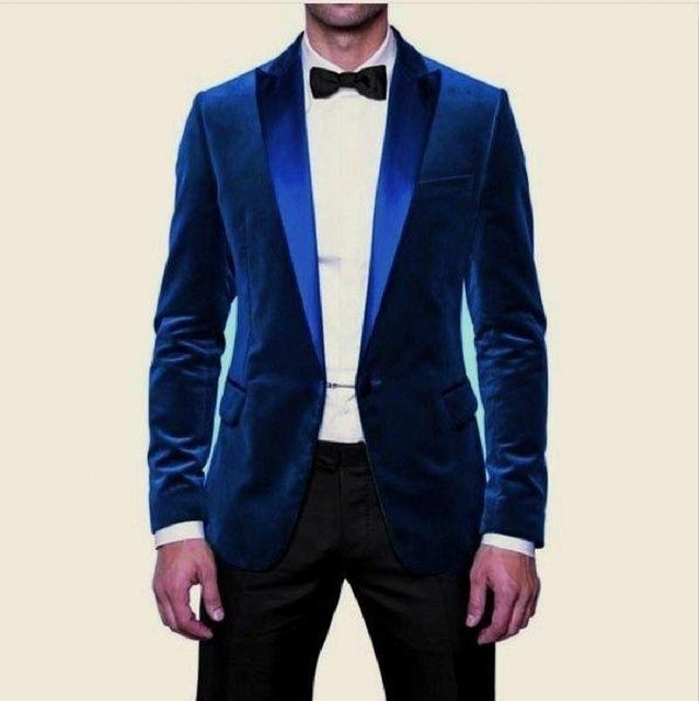 Velvet Groomsmen Peak Satin Lapel Groom Tuxedos Blue/Green Men Suits Wedding Best Man (Jacket+Pants+Tie+Hankerchief)