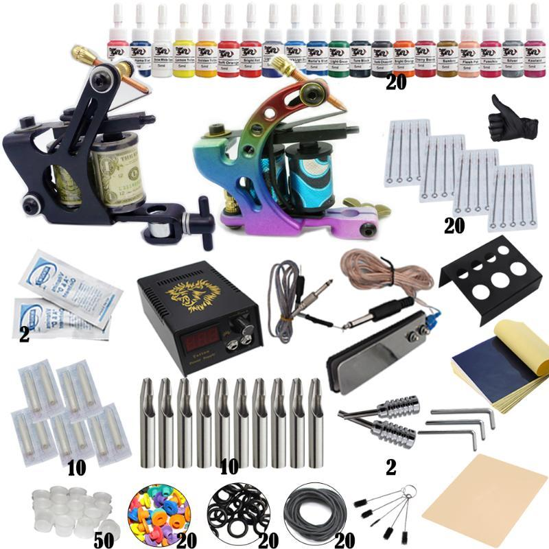Complete Tattoo Kit Professionnel Débutant Set Machine Pigment à induction Tattoo Alimentation Set