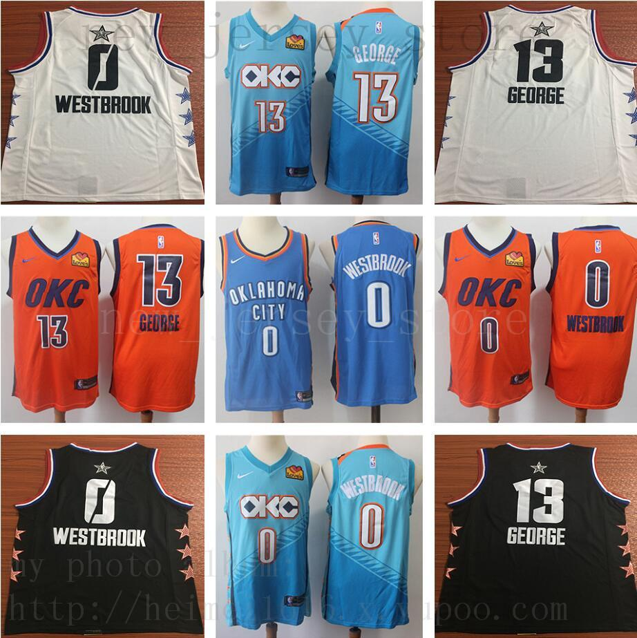 004f3e6e6391 2019 2019 New City 0 Russell 13 Paul Westbrook George Thunder Jerseys 2019  New Orange Blue Basketball Jersey Short From New jersey store