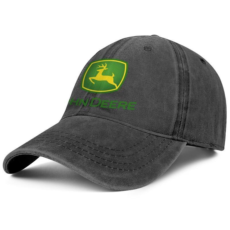 bfd696e08973 John Deere LOGO negro Hombres y mujeres Denim Cap camionero gorra diseño de  bola equipado sombreros lisos Negro