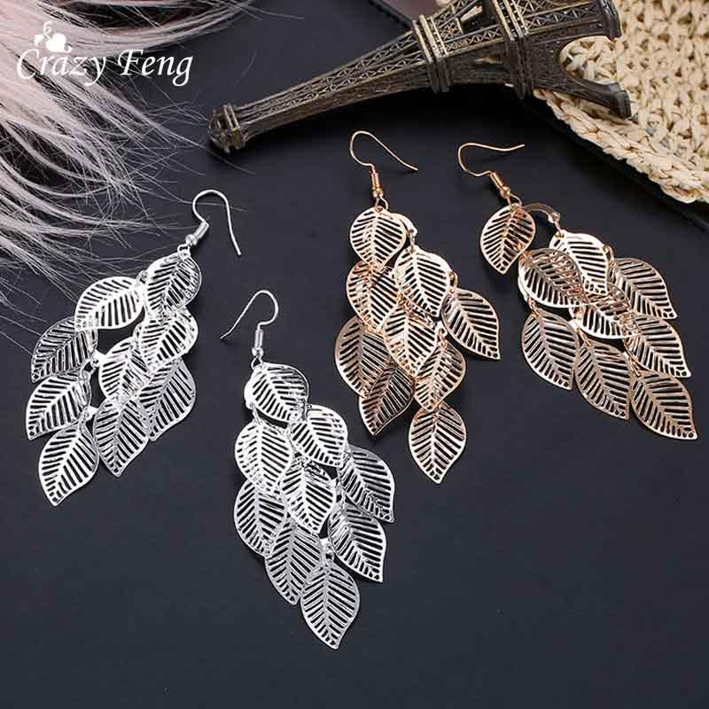 Fashion Hollow Flower Gold Color Leaf Drop Dangling Earrings pendientes Jewelry Wedding Bridal Tassel Long Earrings for women