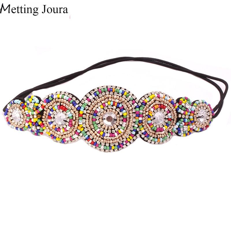 Metting Joura Vintage Bohemian Ethnic Colored Seed Beads Flower Headband Party Handmade Elastic Kitted Hair Band Hair Accessory
