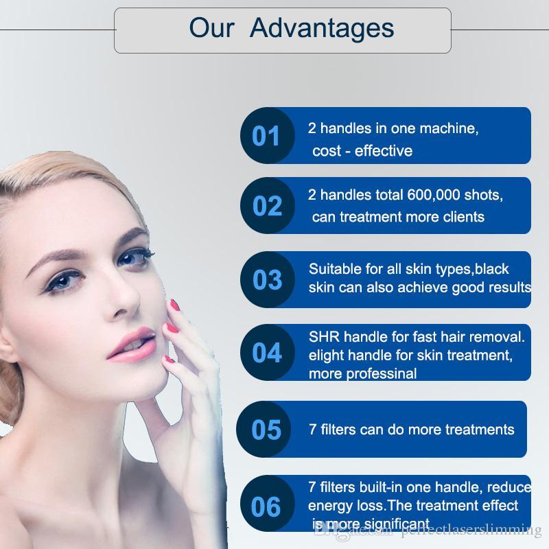 IPL piel rejuvenecimiento de pelo Elight manchas de la edad de depilación láser IPL equipo de la belleza con 600.000 disparos