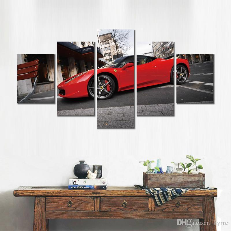 red parking ferrari italia canvas print arts pictures for dining room decor