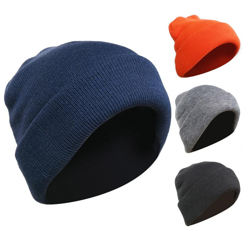 04cab1ee5 2019 winter hats for men and women can use stretch knit hat fashion warm  solid color thick hat men casual loose ski gift