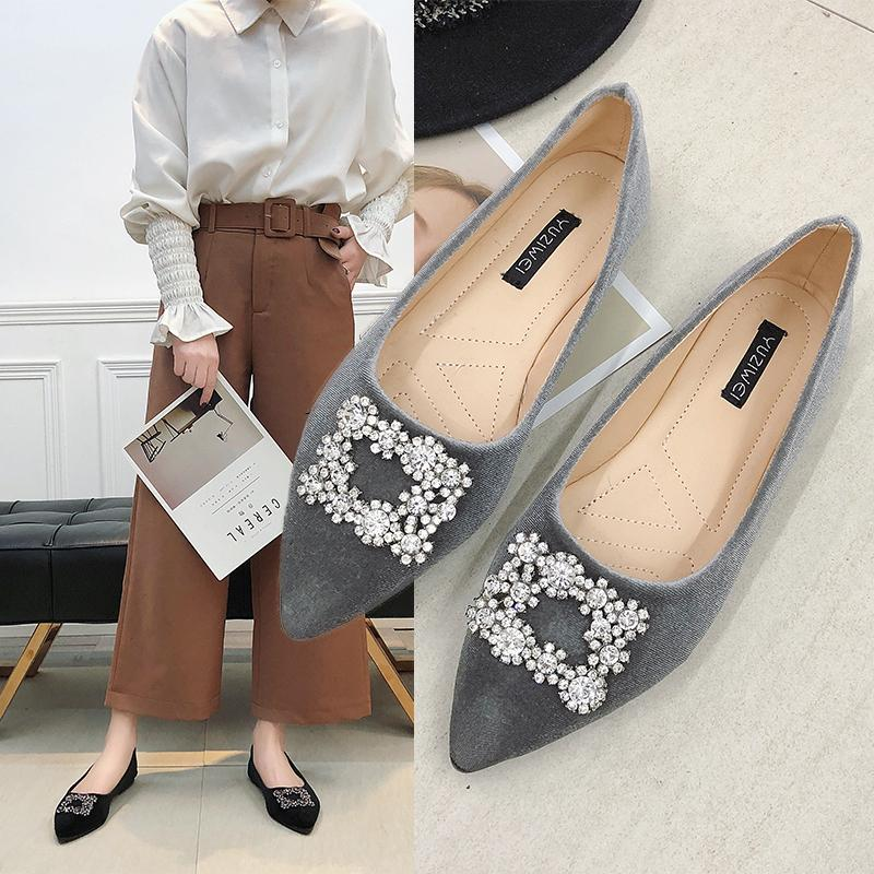 8792d5dd94d8 Spring Women Flats Rhinestone Slip On Shoes Velvet Flat Designer Shoes  Ladies Dress Zapatos Mujer Single N7132 Comfortable Shoes Discount Shoes  From ...