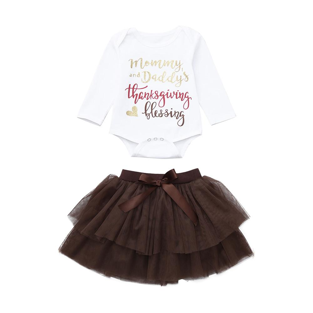 0a2df7698e59 2018 Newborn Infant Baby Girl Letter Romper Tops+Tutu Skirts Thanksgiving  Outfit Set Teenager Prom Designs Long Sleeve