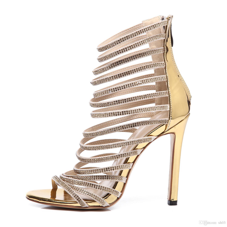 9f3e8e1866 Le donne 2019 estate nuovo con sandali sexy diamante aprire la punta tacco  sontuoso tacco alto sandali di grandi dimensioni di moda