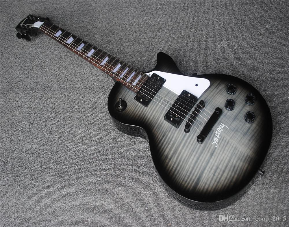 Free shipping Electric Guitar with Dark Black Body and Flame Maple Veneer and Black Hardwares and Can be Customized