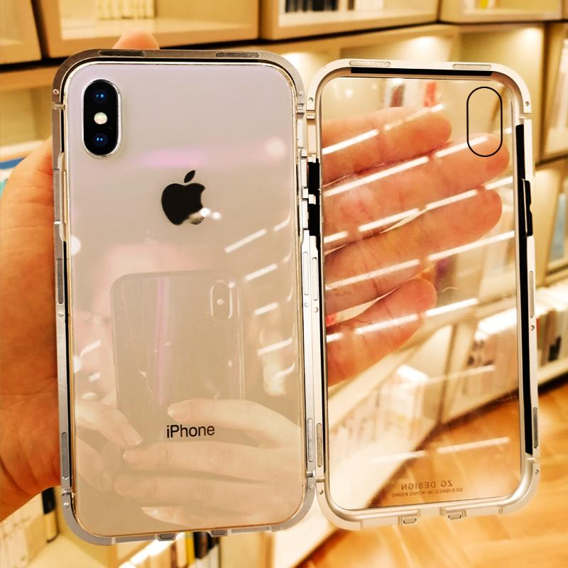 finest selection 85c52 41515 S-GUARD Magnetic back Phone Case for IPhone X 8 7 6s plus Clear Tempered  Glass Magnet Case for IPhone XR XS MAX 7 8 Metal Cover