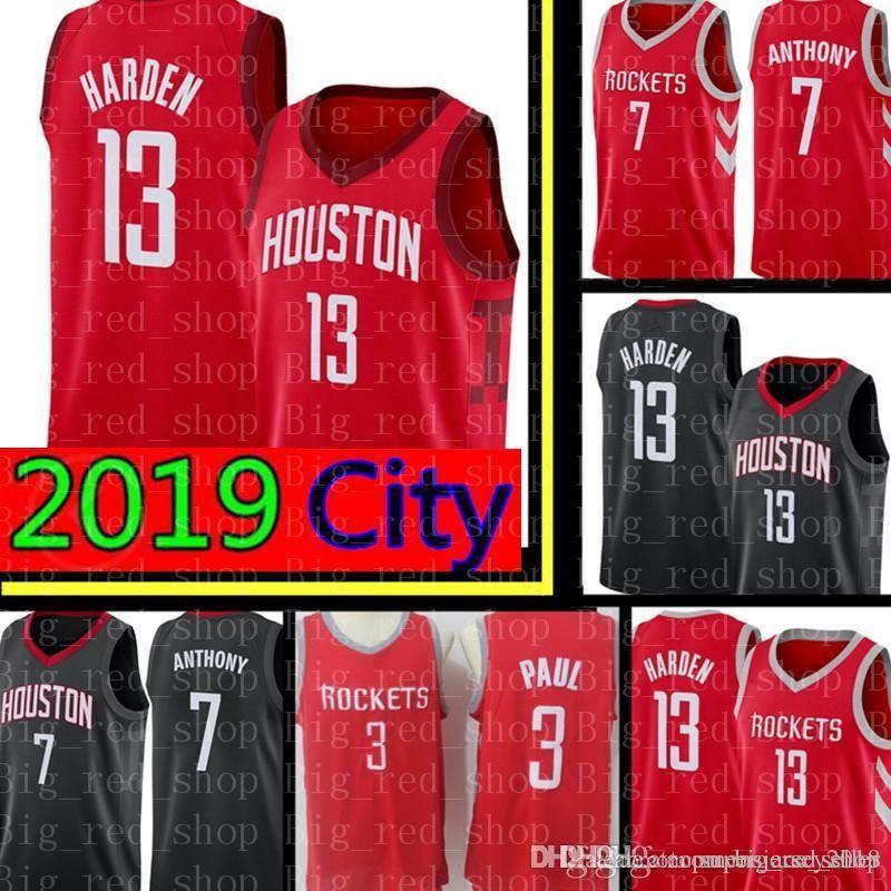 wholesale dealer 12d6a f7073 2019 City James 13 Harden Jersey Houston New Rockets Carmelo 7 Anthony  Chris 3 Paul Basketball Jerseys Cheap sales