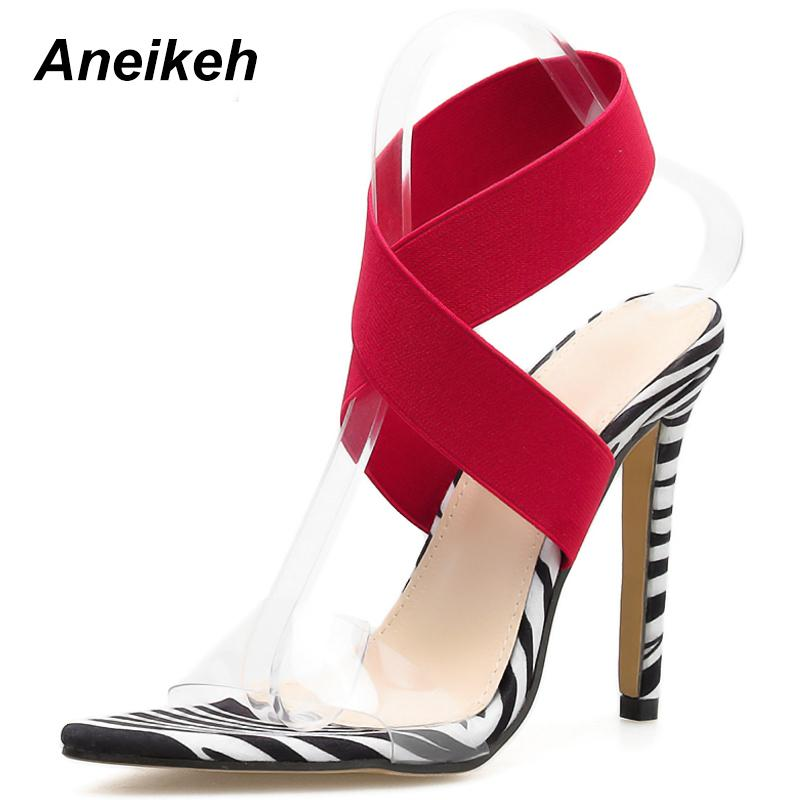 c7ec772eb4 Dress Aneikeh New 2019 Summer Sexy Women Sandals Leopard Print Shoes Thin  High Heels Open Toe Ankle Strap Gladiator Pumps Dress Shoes