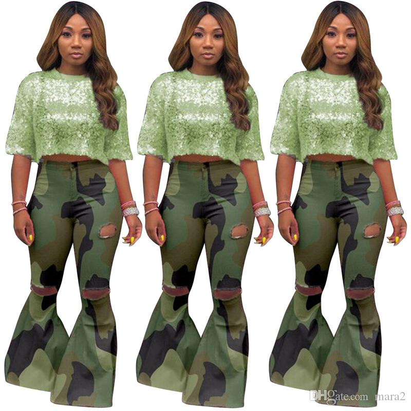 Women plus size pants & Capris sexy club high stretch camouflage hole Flared trousers button fly full-length pants fall winter clothing 1334