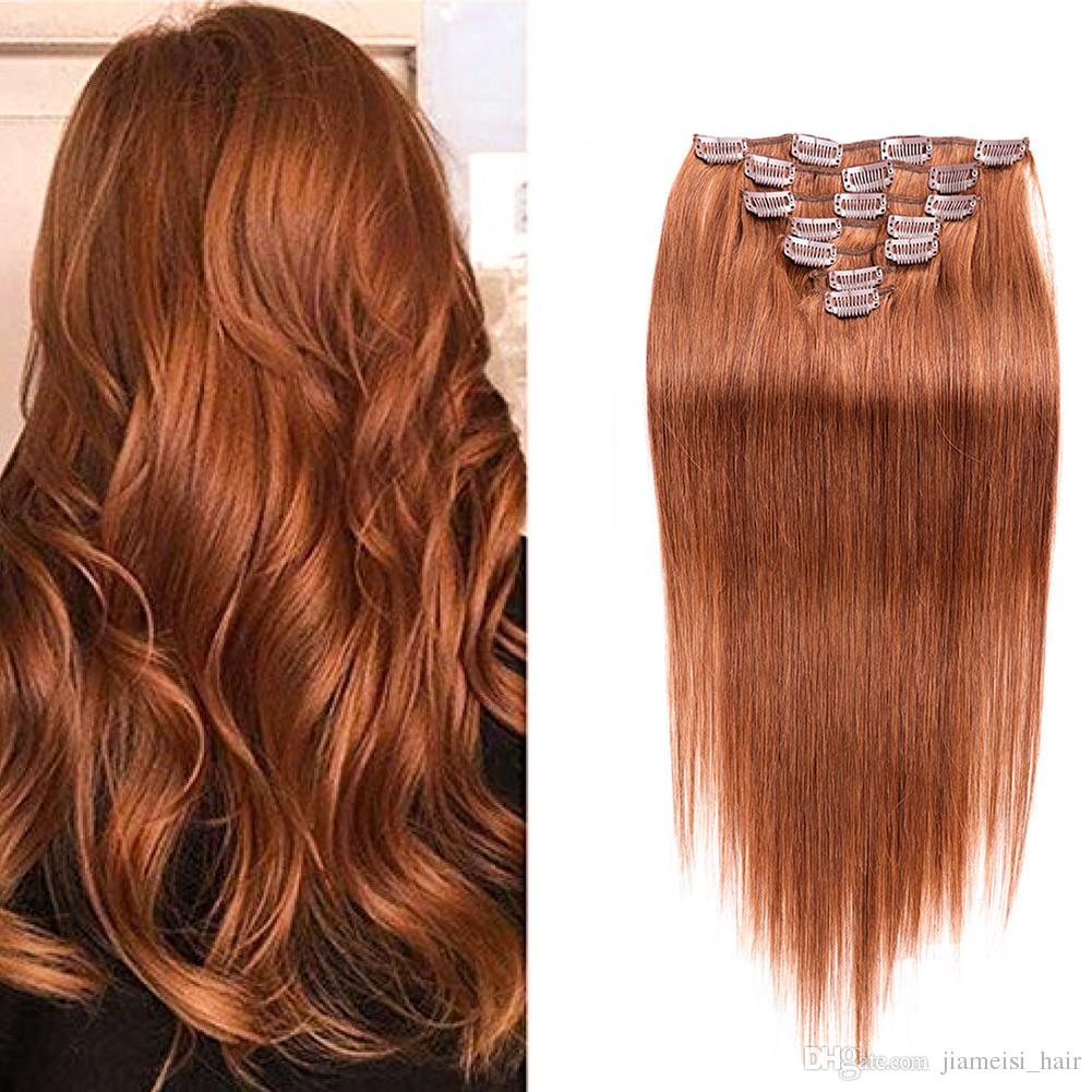 Indian Straight Clip In Hair Extensions 7pieces/set 100g Human Hair Clip In  Medium Auburn (#30)