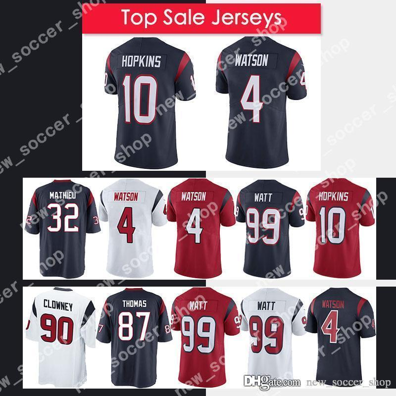 new concept 34ef0 db2d3 Texans Jersey 4 Deshaun Watson Houston Mens 99 J.J. Watt 10 DeAndre Hopkins  90 Jadeveon Clowney 32 Mathieu 87 Thomas Football Jersey