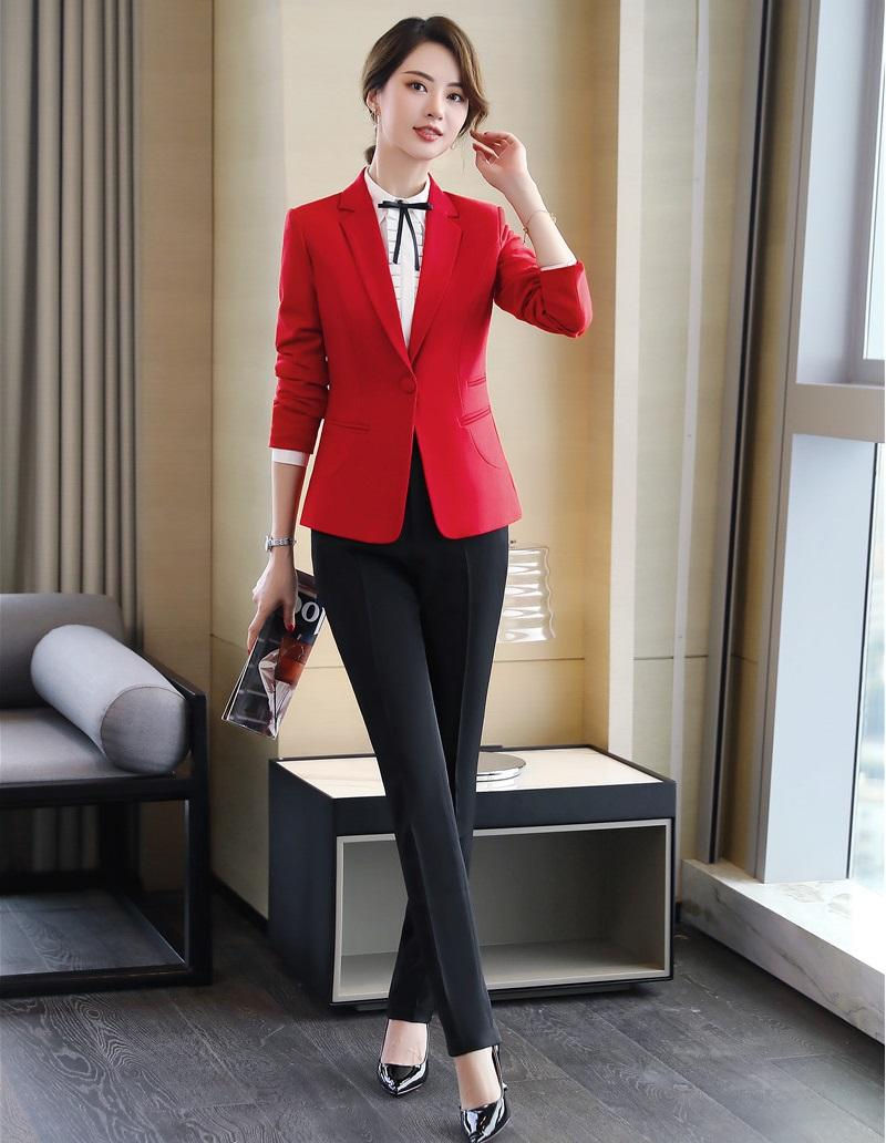 f4a40cf7974 2019 Formal Ladies Red Blazer Women Business Suits Pant And Jacket Sets  Work Wear Office Uniform Styles OL Elegant From Yuhuicuo