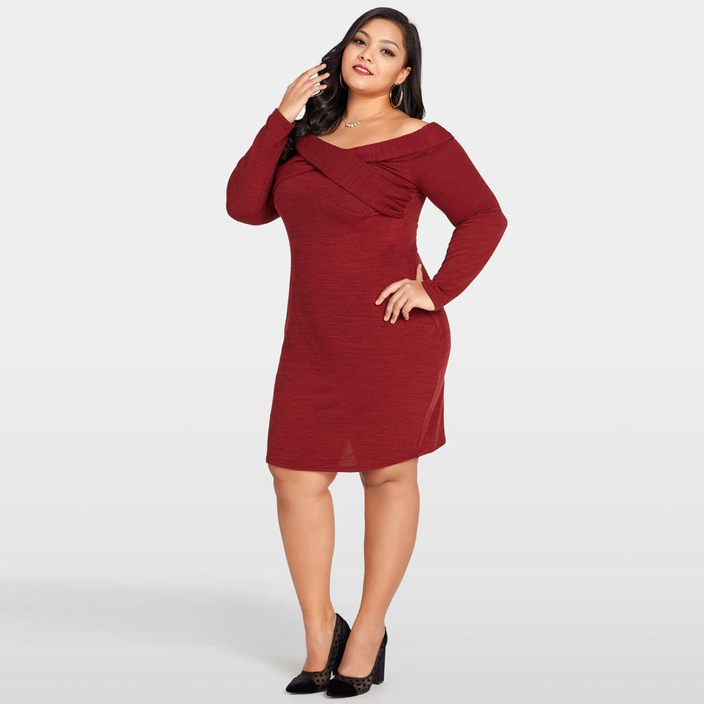 7ee06f38 Sexy 3XL 4XL 5XL Plus Size Dress Female Off The Shoulder Knitted Dress  Cross Front Long Sleeve Slim Bodycon Midi Dress Burgundy Black Summer  Dresses Evening ...