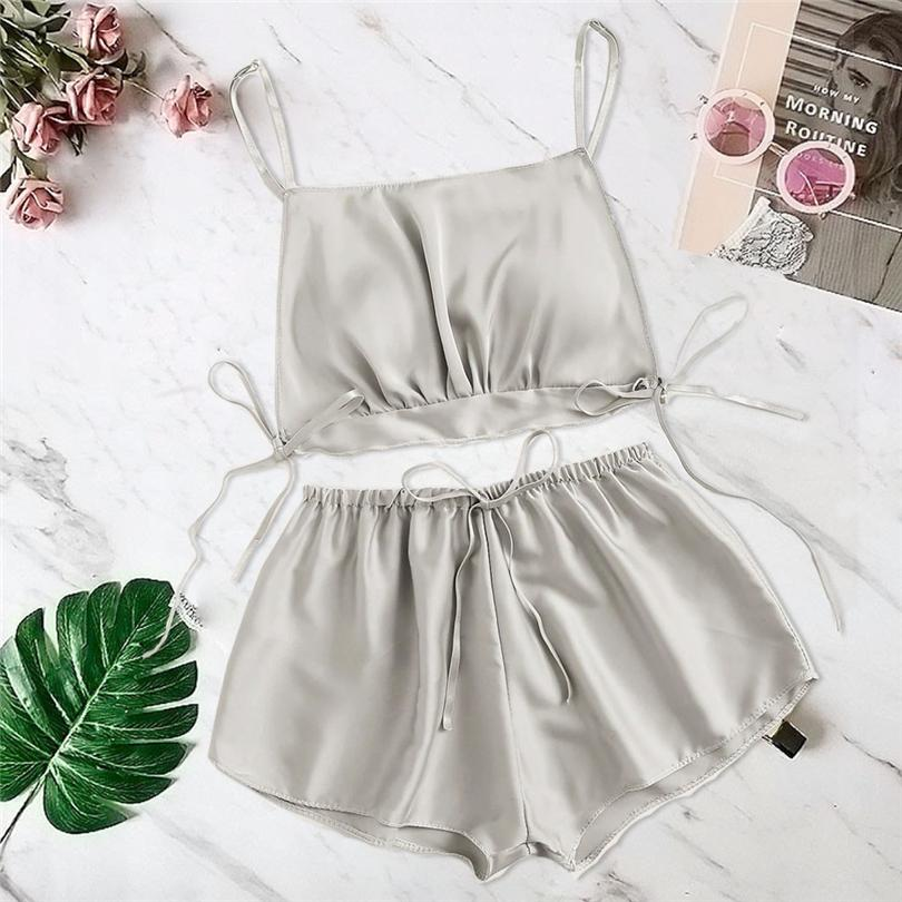 Hot 2 Pieces Women Satin Silk Bowknot Camisole Shorts Set Sleepwear Pajamas Bandage Lingerie Sex Costume Intimate Lingerie A20