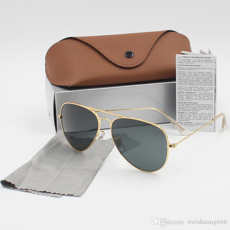 99f345a75a098 Compre Marca De Luxo Marca De Moda Óculos De Sol Uv400 Óculos De Sol Para  Criar Alta Qualidade Óculos De Armação De Metal Lente De Cristal Óculos De  Sol 2 ...