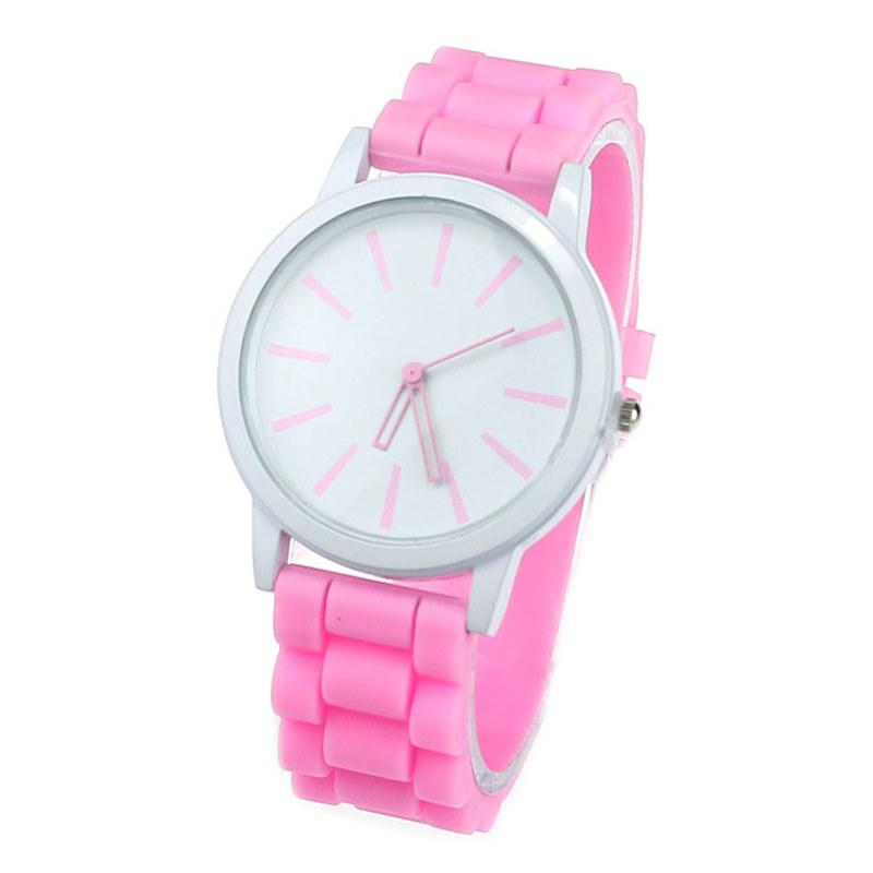 Women Watch Silicone Rubber Unisex Quartz Analog Sports Women Fashion Wrist Hot Pink For Lovely Girls #4m14