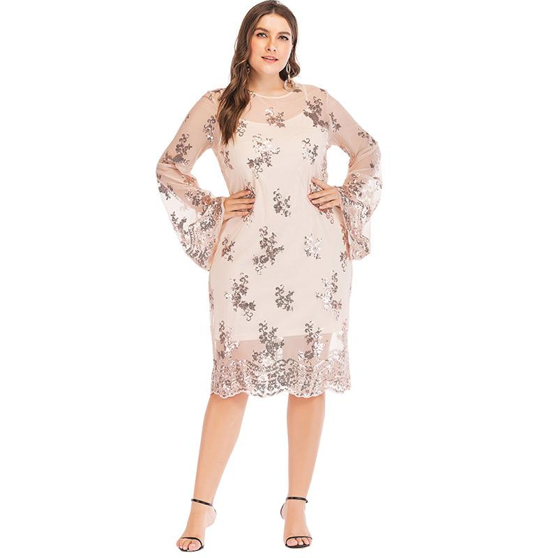 705e69f186f4d 2019 New Sexy Women Plus Size Dress Sequined Sheer Mesh O Neck Flare Sleeve  Transparent Dress Two Pieces Set Party Dress Vestido Shopping Dress Lace ...