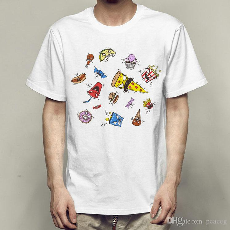 Munchies t shirt Monster food short sleeve Dessert print Cartoon fadeless tees Leisure white colorfast clothing Pure color modal Tshirt