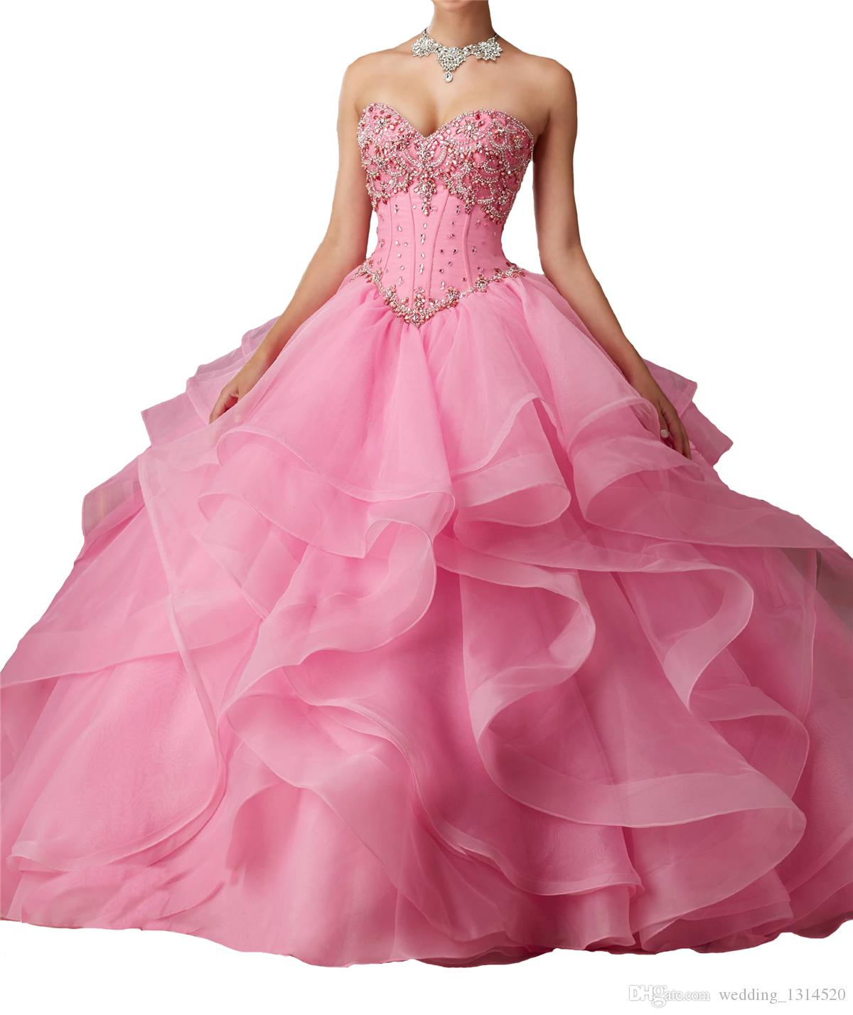 Women Quinceanera Dresses New Style Sweetheart Crystal Ruffles Floor Length Corset Back Long Girls 15 16 Party Ball Gowns with free jacket