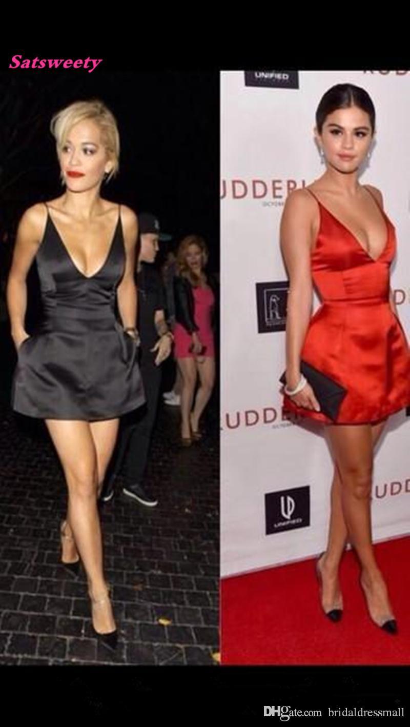 98c65577f4 2019 Sexy V Neck Spaghetti Strap Orange Satin A Line Mini Short Celebrity  Dress Selena Gomez Oscar Red Carpet Dresses Evening Prom Gown Plus Size  Dresses ...