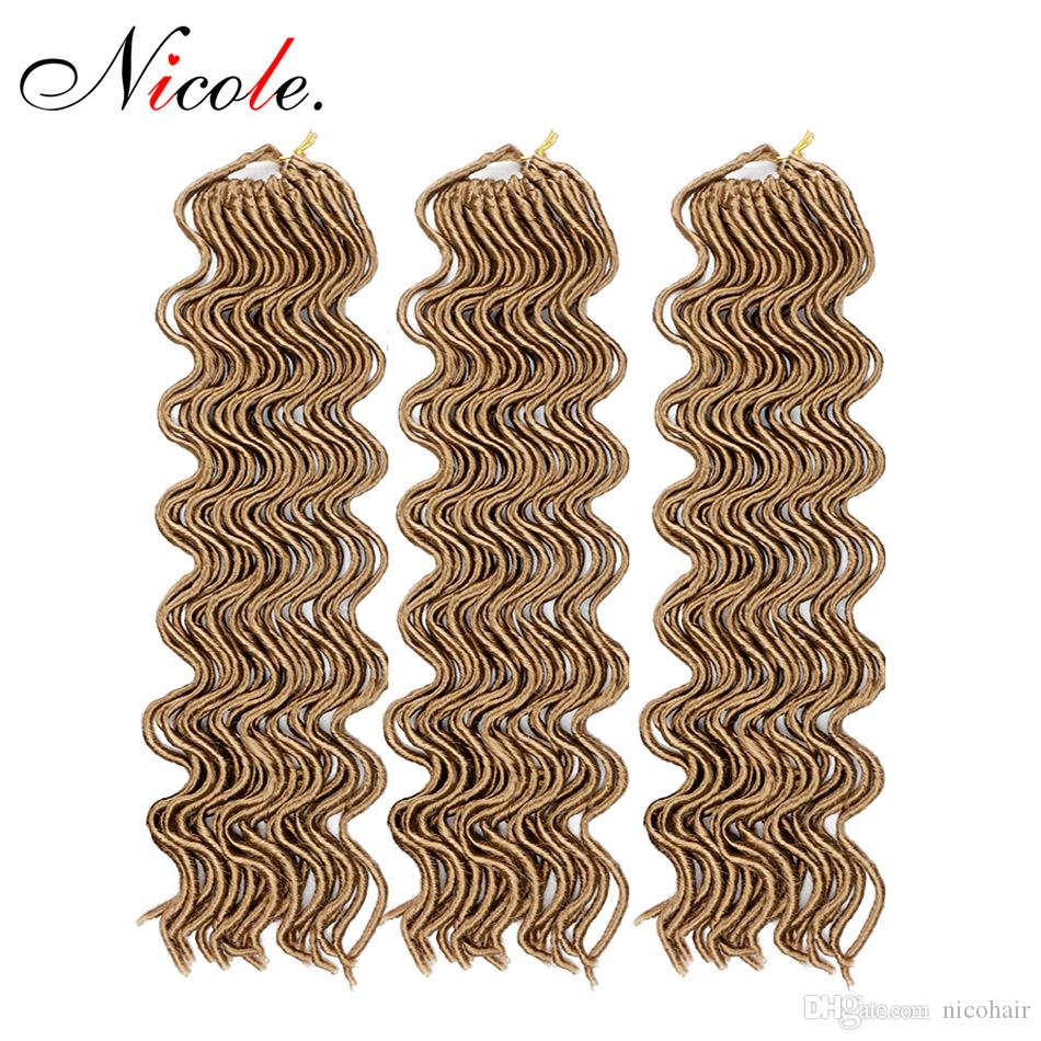 Nicole Hair 20inch 100g 24 Roots Crochet Braid wavy Faux Locs Hair Synthetic Soft Dread Braiding Hair Extension Kanekalon Fiber