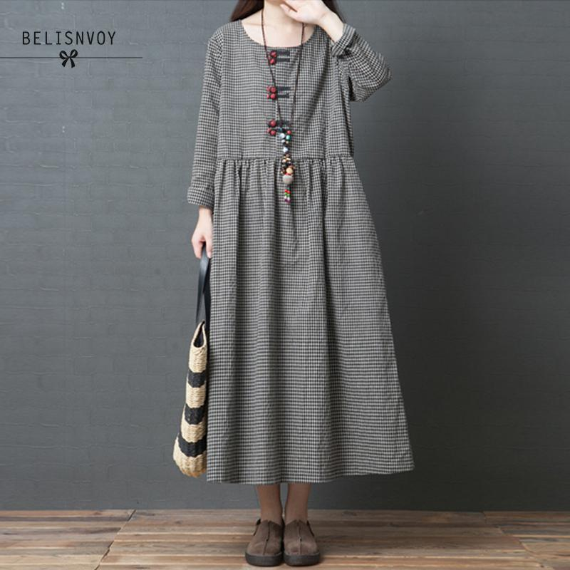 53192d7740 2019 Autumn New Vintage Loose Fashion Cotton And Linen Long Sleeve ...