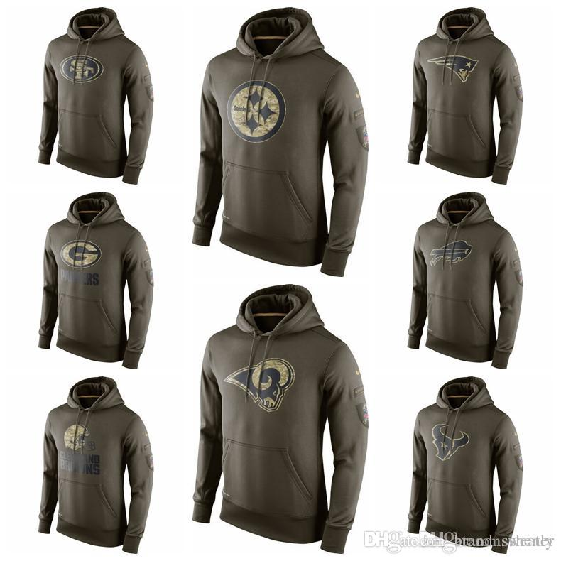 online store bfc27 ceeca Hot Sale Mens Salute to Service Sideline Performance Hoodie Sweater 49ers  Steelers Patriots Bills Packers Browns