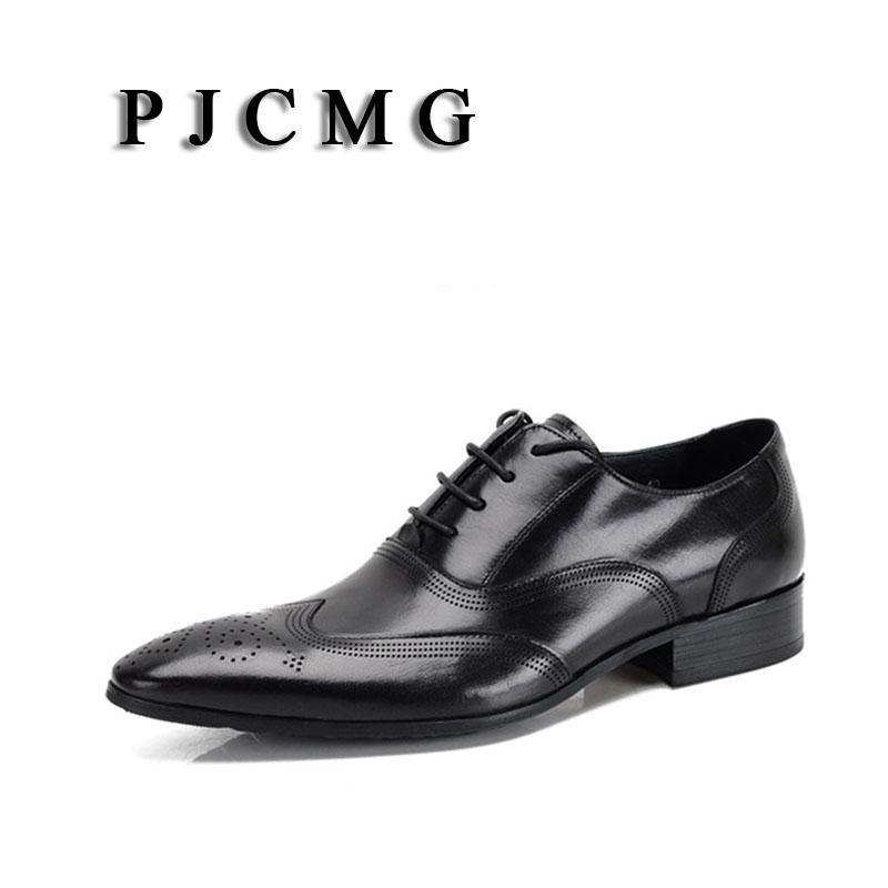 dc14fd7b0b593 PJCMG Fashion Men Oxford Wedding Male Lace Up Pointed Toe Office Genuine  Leather Dress Black Red Formal Mens Dress Shoes 111 Leather Shoes For Men  Mens ...