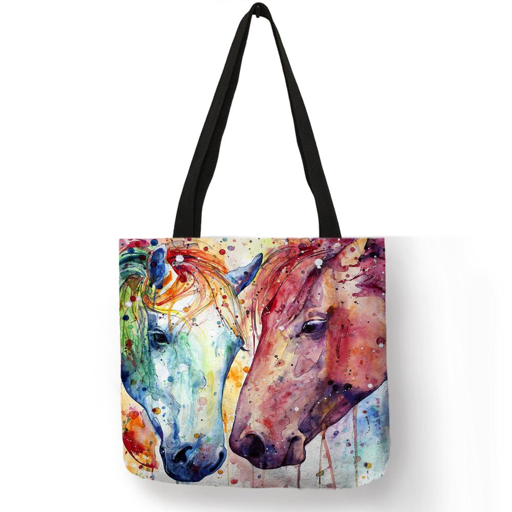 New Arrival Totes Bag Lady Rainbow Horse Art Painting Shoulder Bag Eco Linen Casual Fashion Office School Handbags For Women