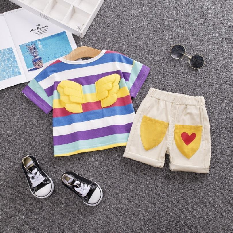 New Summer Fashion Children's Clothing Rainbow Wings Letter Cartoon Print T-Shirt Shorts 2 Piece Set Baby Girl Boy Suit Set
