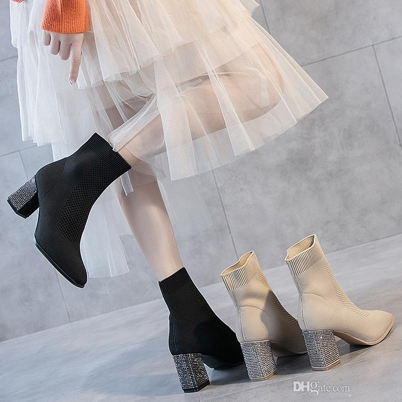 Stretch Fabric Novelty Crystal Women Mid Calf Boots High Square Heel Pointed Toe Vintage Winter Boots Plus Size Shoes