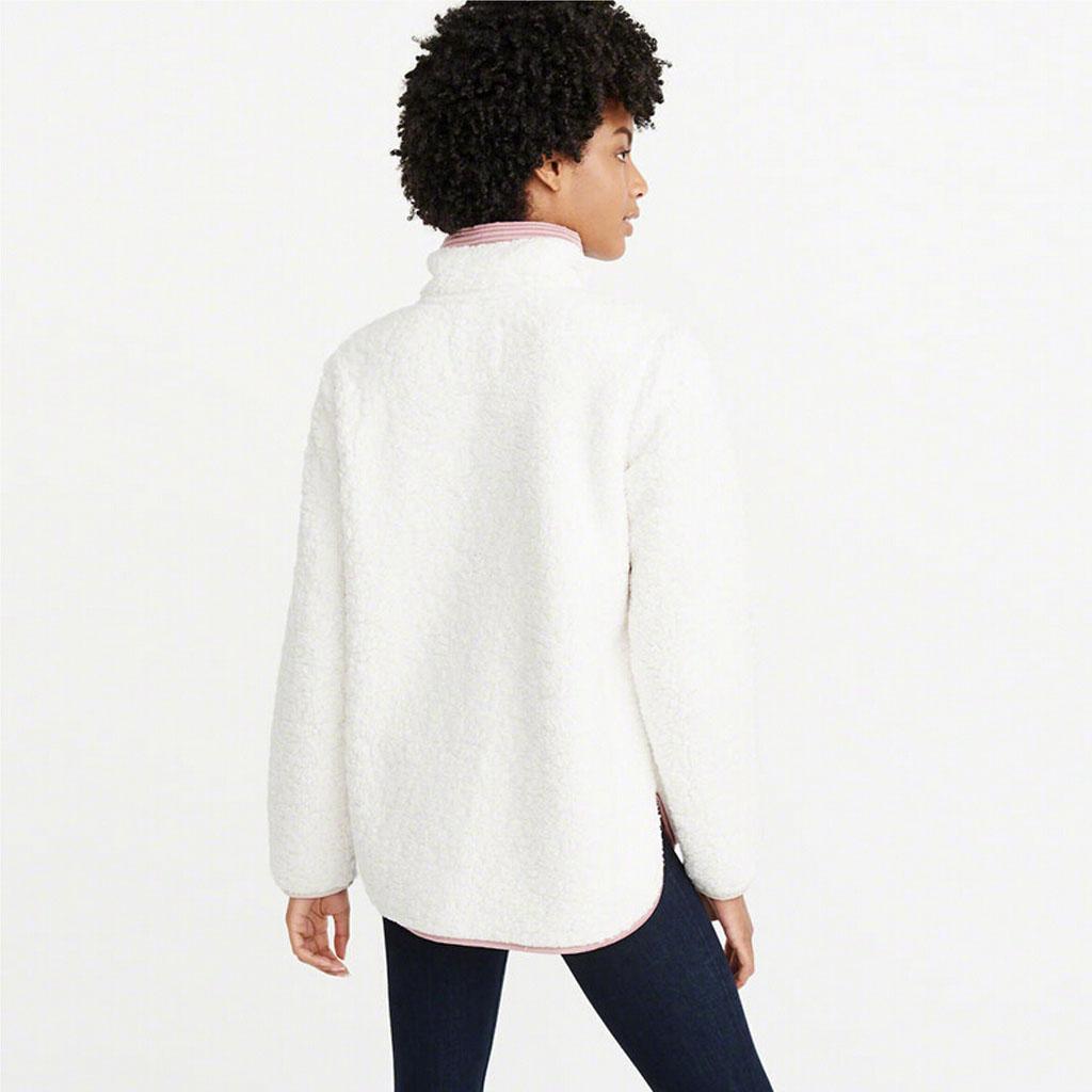 Femmes d'hiver en peluche Patchwork Zipper col haut Sweat Hauts Casual Chemise à manches longues Pull Fluffy