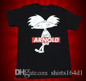 New Nickelodeon Hey Arnold Noir Hommes vintage classique T-shirt
