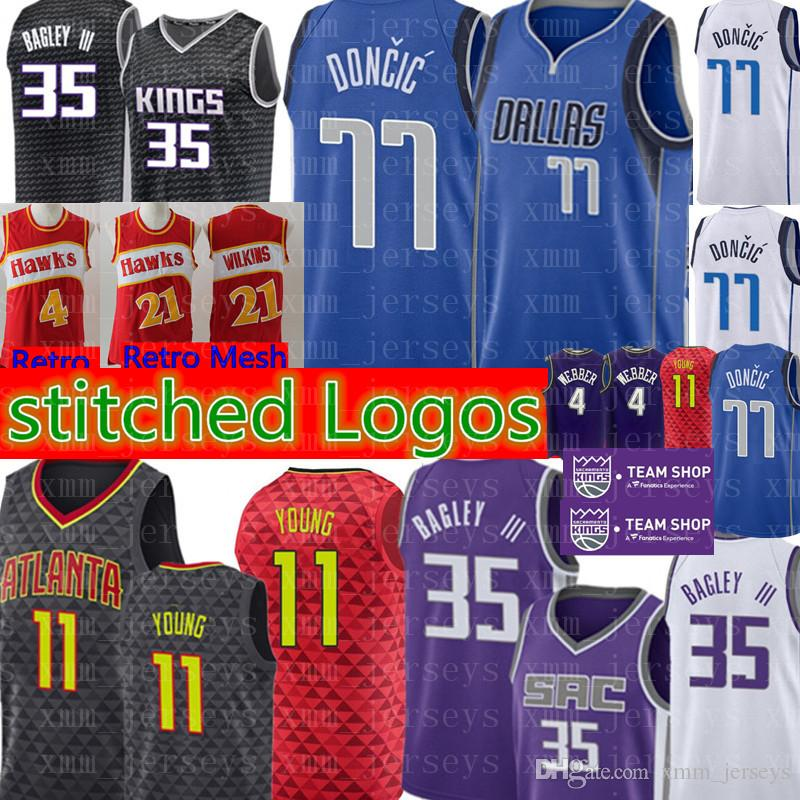 new products a0137 80ad2 77 Luka # Doncic Dallas Mens Mavericks Jersey Marvin 35 Bagley III Fox 5  Sacramento Williams 55 Hawks Trae 11 Young Jerseys